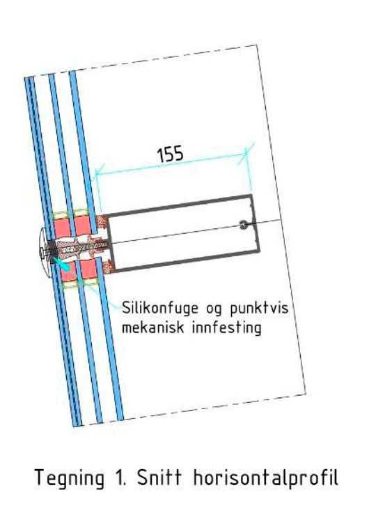 Illustrasjon av fasadeprofil av baugen på Skipet i Bergen