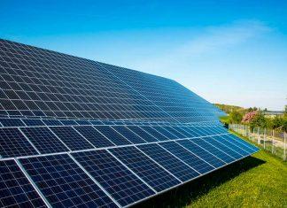 Foto av solcellepaneler i solpark