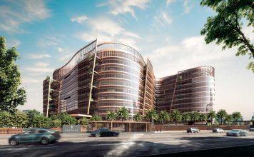 Illustrasjon av kontorbygg med elektrokromatisk glass i fasaden